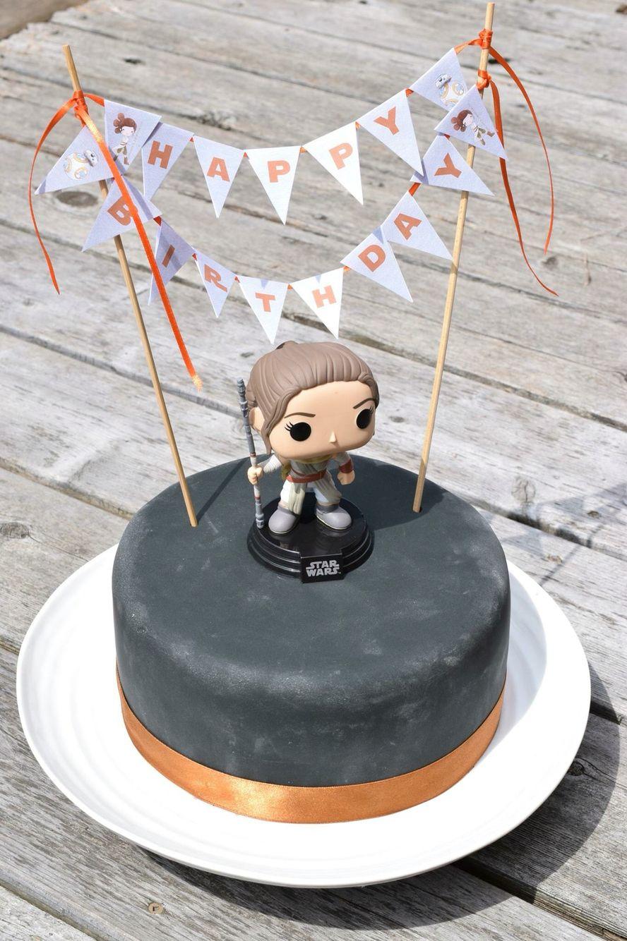 Rey birthday cake Bobble head Cake bunting Star Wars party