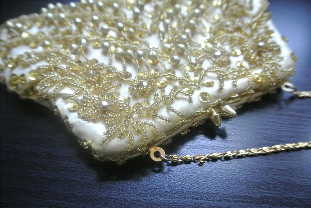 Vtg Hand Beaded Gold Cocktail Evening Clutch Purse w/ Chain Strap EUC