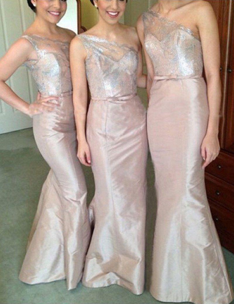 Light blush bridesmaid dress one shoulder bridesmaid dresslace top