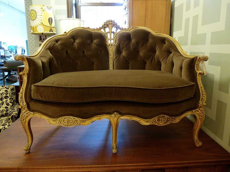 Antique french settee reupholstered in an eco organic brown cotton | Twice by Kelly Rauch