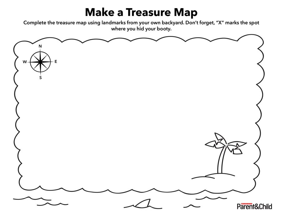 Help Kids Complete The Treasure Map Using Landmarks From Your Own