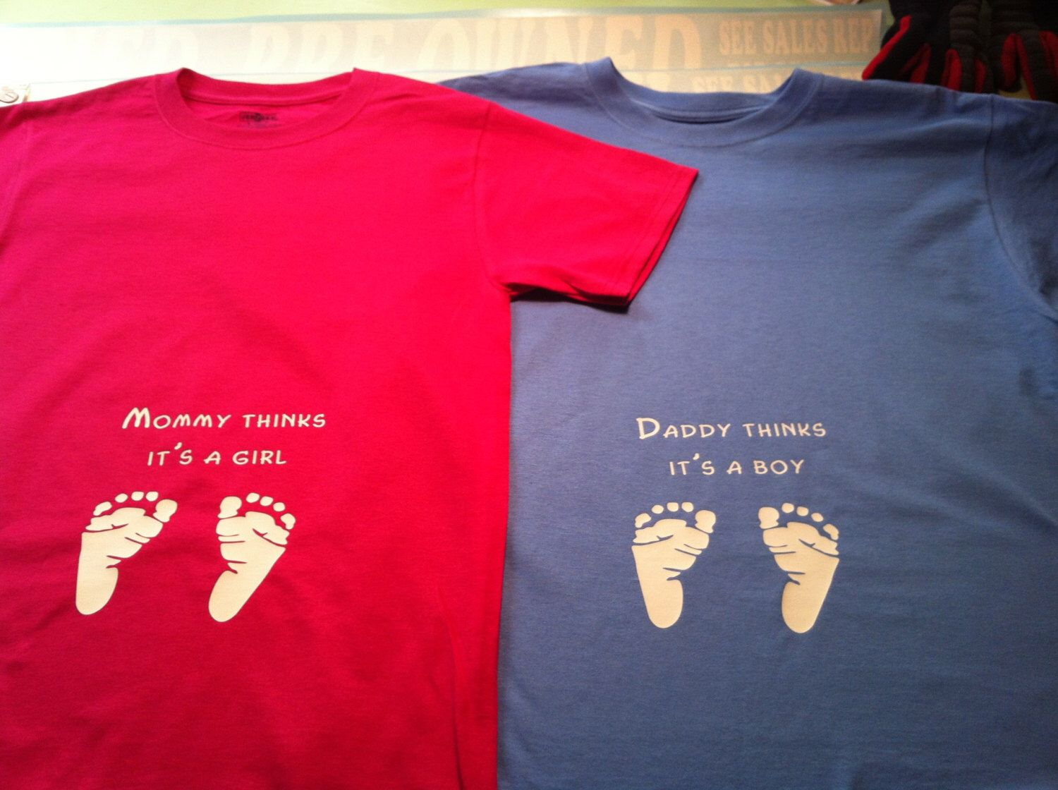 Baby gender reveal shirts by vinylfxsigns on etsy https