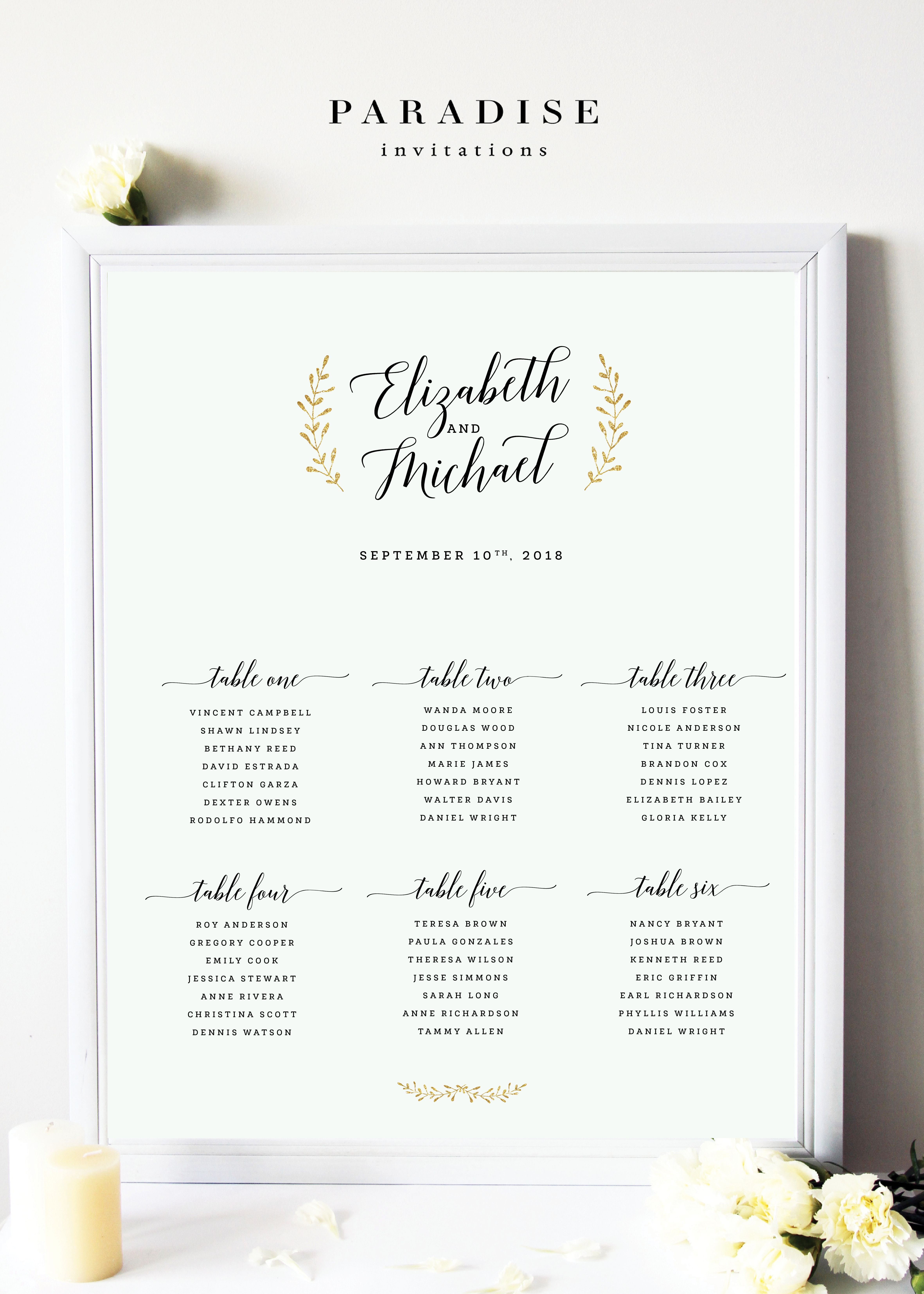 wedding table seating chart mint and gold classy and elegant by