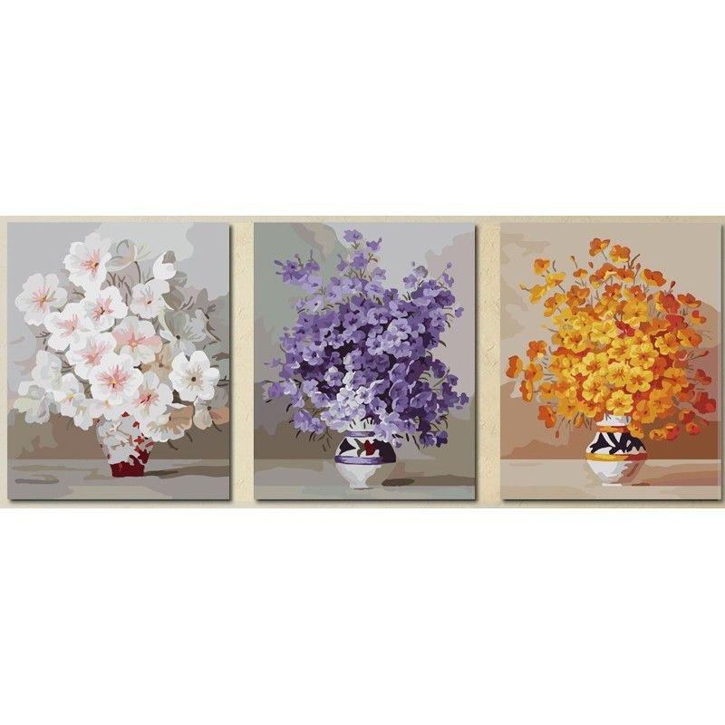 Триптих по номерам - Нежные цветы | Цветы, Раскраски, Триптих