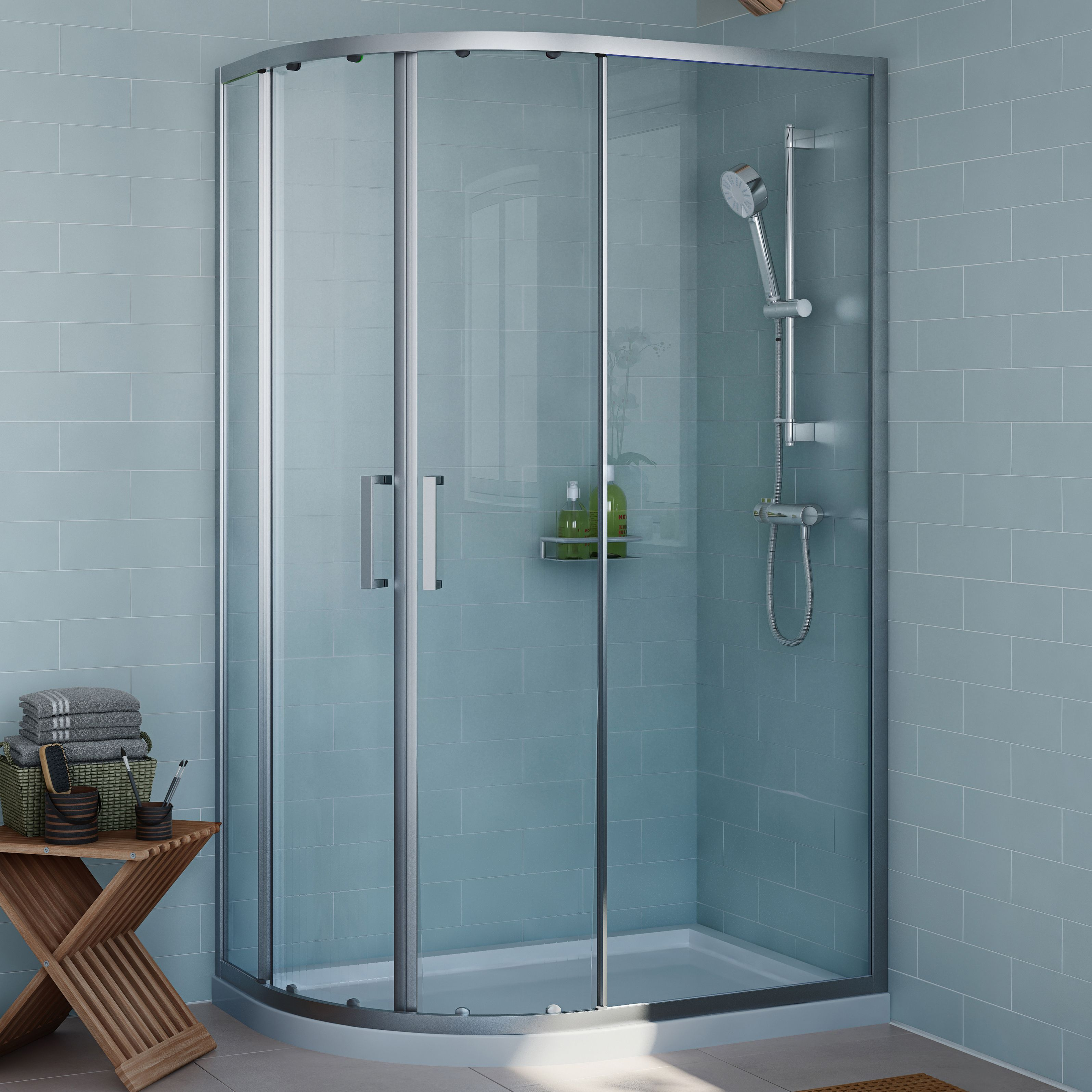 Cooke Lewis Exuberance Offset Quadrant Rh Shower Enclosure Tray Waste Pack With Double Sliding Quadrant Shower Enclosures Shower Enclosure Quadrant Shower