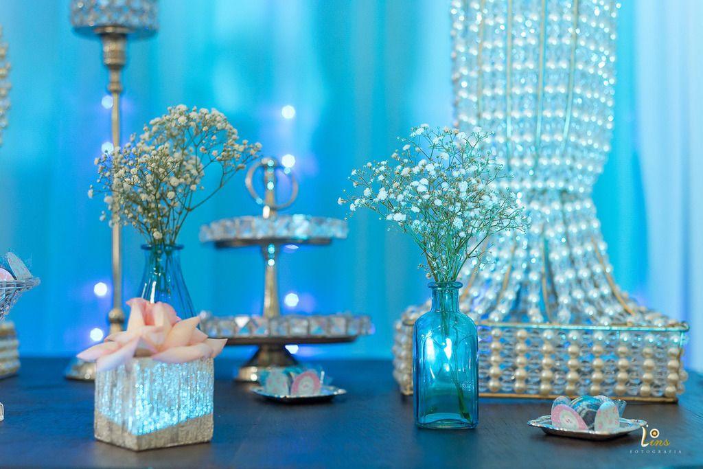 bc1297697e vaso decoração azul e flores branca para festa de 15 anos | Fotos ...