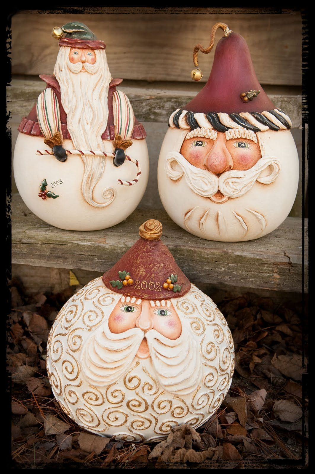 more gourds bottom santa would be a good face for a round rock