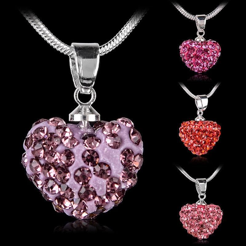 New Fashion Women Heart Shaped Silver Plated Pink Pendant Necklace Chain Jewelry