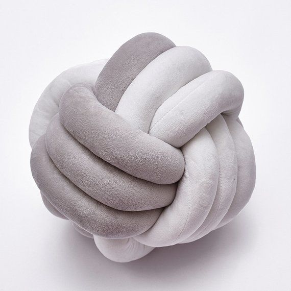 10 inches / 25 cm Knot pillow - gray white Mixed color