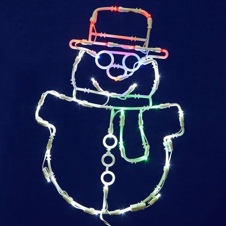 17 Lighted Led Smiling Snowman Christmas Window Silhouette