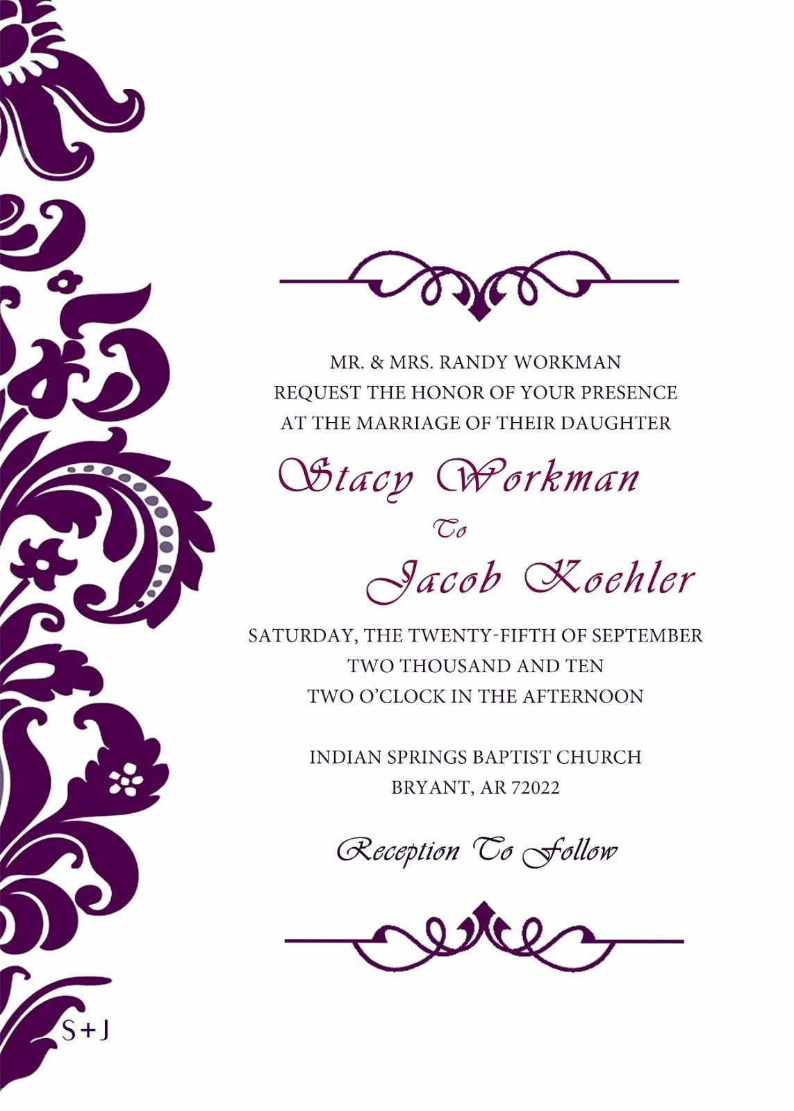Formal Invitation Template Free Awesome Blank Wedding