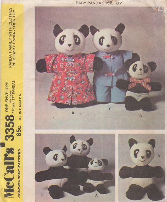 Mccalls 3358 1970s MaMa PaPa and Baby Panda Pattern 14 and 17 Inches ...