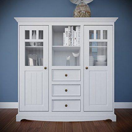 Belluno Prestige solid pine wood display low height cabinet / dresser in white…