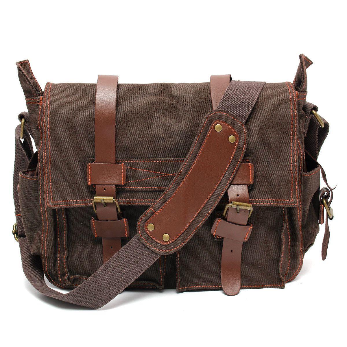 f8356b87bf Men Vintage Canvas Crossbody Bag Military Large Shoulder Bag