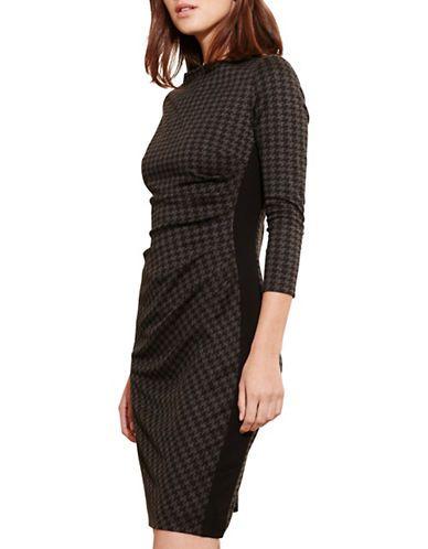 "<ul><li>A tonal houndstooth pattern showcases menswear inspiration, while slimming ruching keeps the ponte dress distinctively feminine.</li><li>Boat neckline</li> <li>Three-quarter-length sleeves </li> <li>Ruched left waist </li> <li>Contrasting side panels </li> <li>Center back zipper with hook-and-eye closure </li> <li>Lined</li> <li>About 37"" from shoulder to hem</li> <li>Polyester/viscose/elastane/nylon</li> <li>Dry clean</li> <li>Imported</li><li>This item will arrive with a tag…"