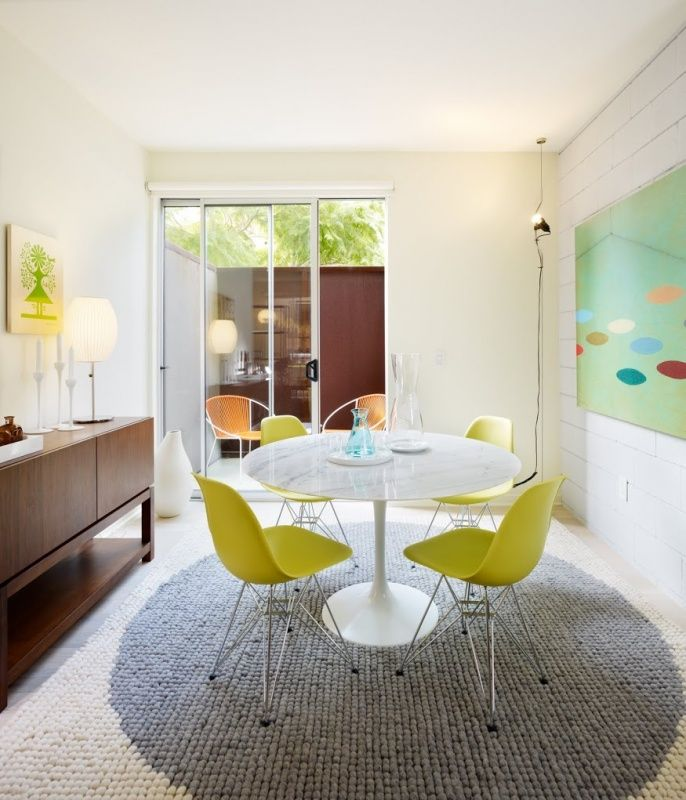 Tulip Table Green Eames Eiffel Chairs Mid Century Dining Room Design