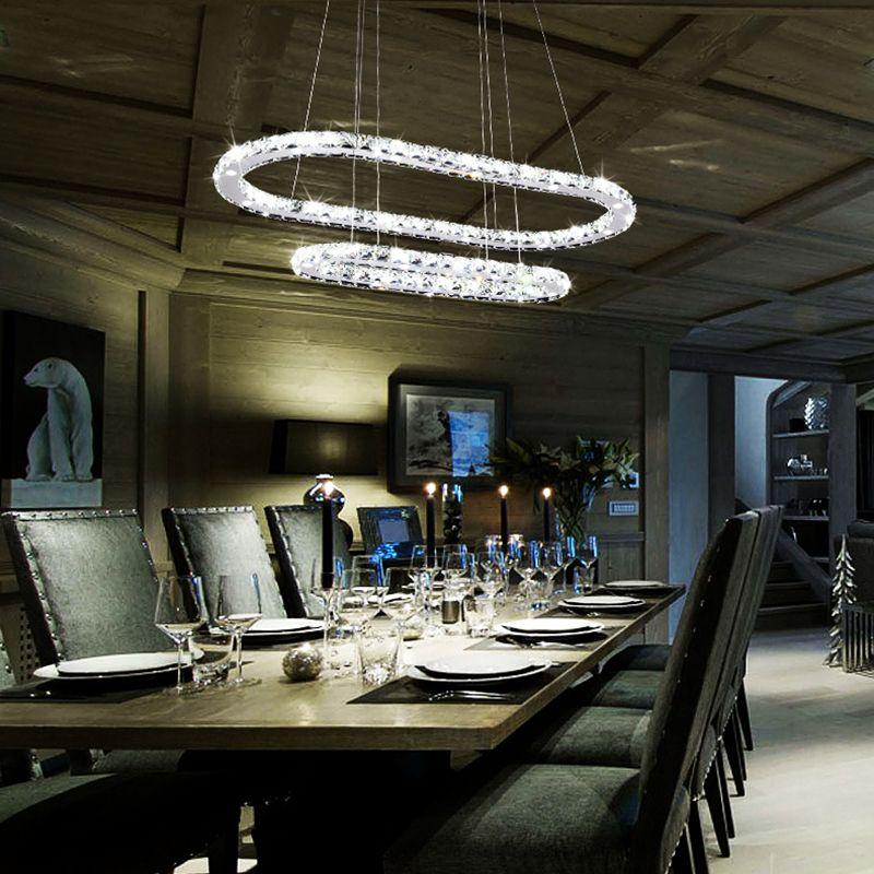 Chandelier Light Fixture K9 Crystal Stainless Steel Led Lighting Modern 2  Long Exquisite AC110 220v