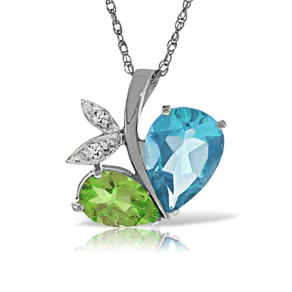 14K Solid White Gold Modern Heart Necklace Combination Of Blue Topaz, Peridot & Diamonds - 5520-W