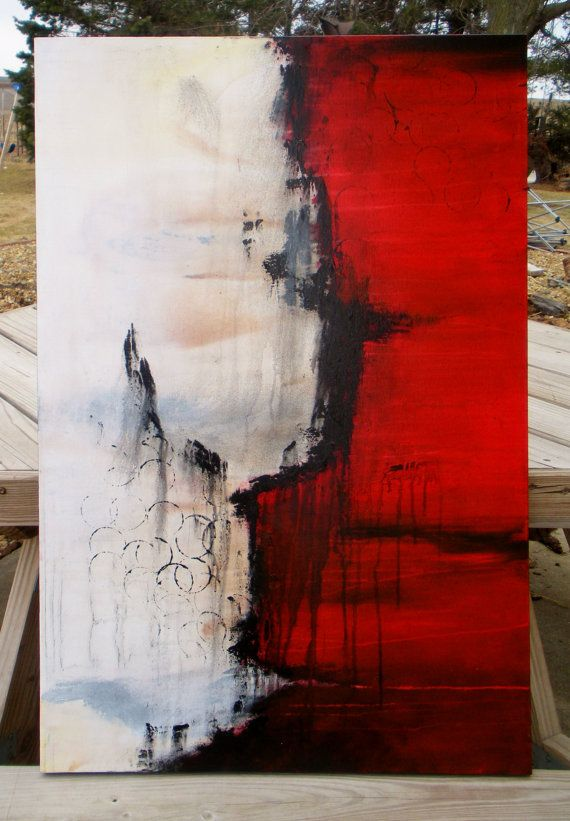 Red Painting Original Abstract Painting Black And White