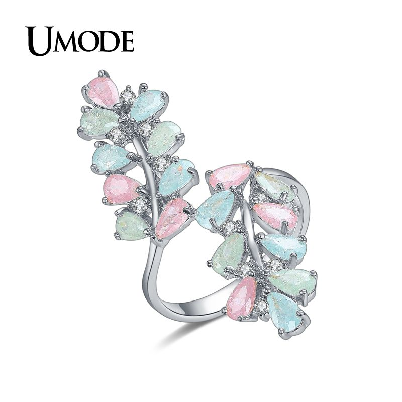 2aac7c66c6e6 Candy Colorful Rings For Women White Gold Plated CZ Cocktail Rings Fashion  Jewelry Anillos Bague AUR0361B