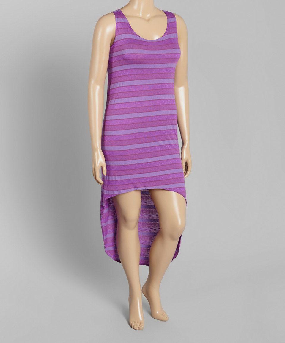 Purple & Lilac Stripe Hi-Low Dress - Plus by Poliana Plus #zulily #zulilyfinds
