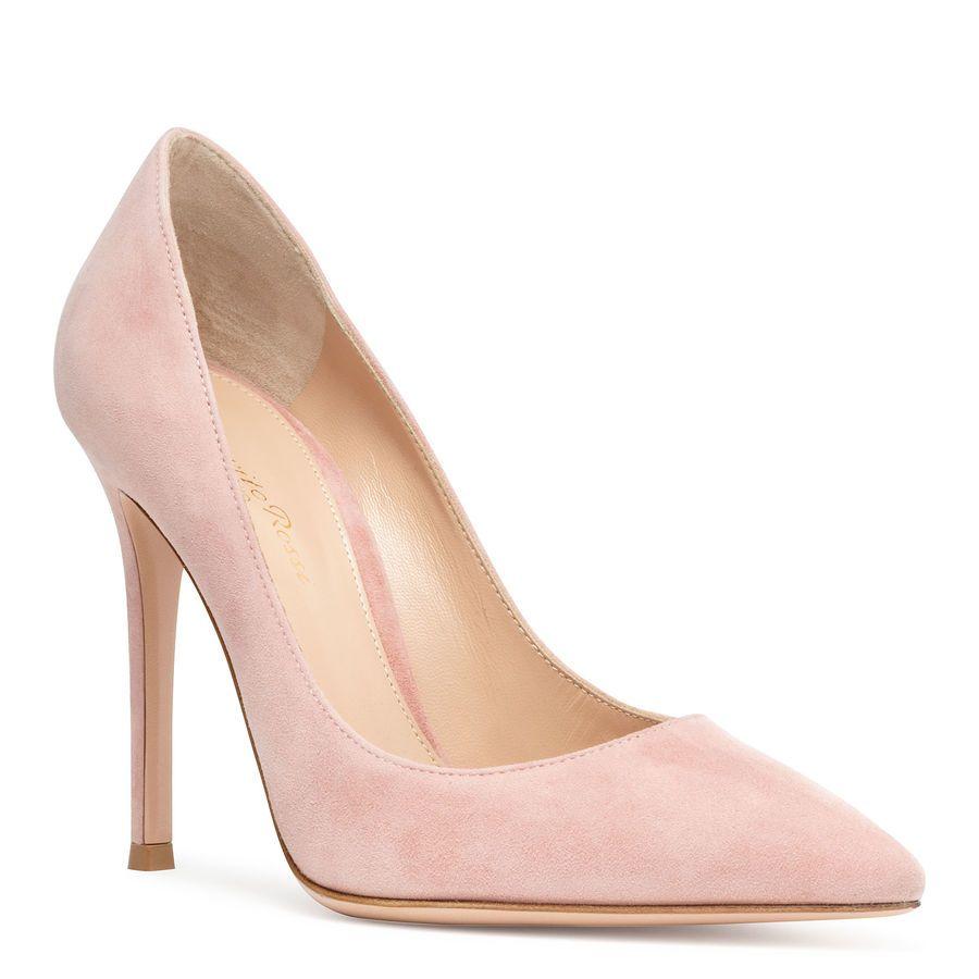 Gianvito 105 dusty pink suede pumps