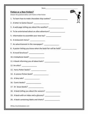 Fiction Or Non Fiction Fiction Vs Nonfiction Nonfiction Reading Class Genre worksheet 3rd grade