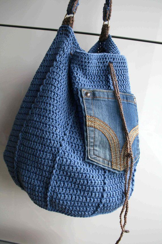 Crochet pattern, crochet bag pattern, upcycled denim drawstring, granny crochet bag pattern 276 Instant Download #crochethandbags