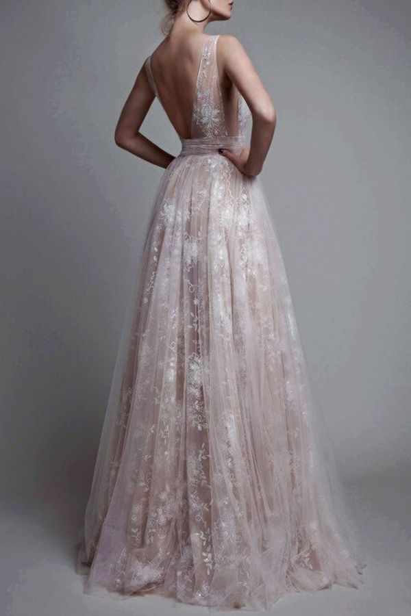 Elegant Champagne A-Line V-Neck Sleeveless Appliques Long Prom Dress 2b00a2b1d