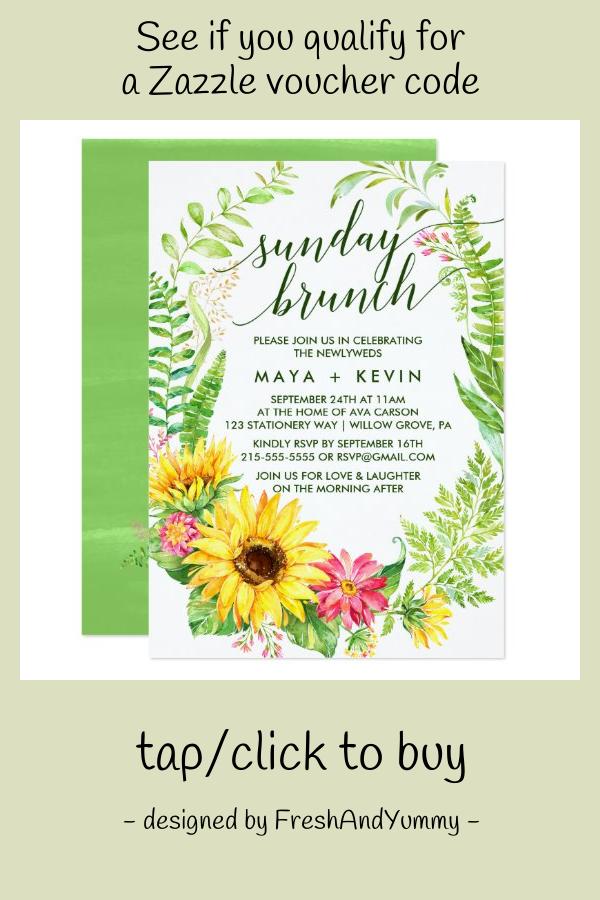 Photo of Summer Sunflower Wreath Wedding Sunday Brunch Invitation | Zazzle.com