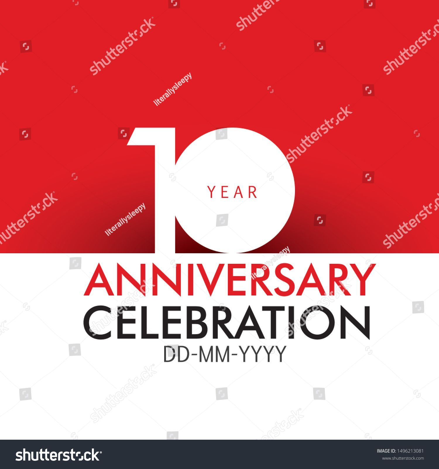 10 Year Anniversary Concept Red Color Stock Vector Royalty Free 1496213081 1496213081 Anniversary Color 10 Year Anniversary Year Anniversary Anniversary