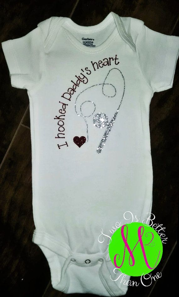 Baby Shower Gift Hooked Daddy S Heart Baby Bodysuits