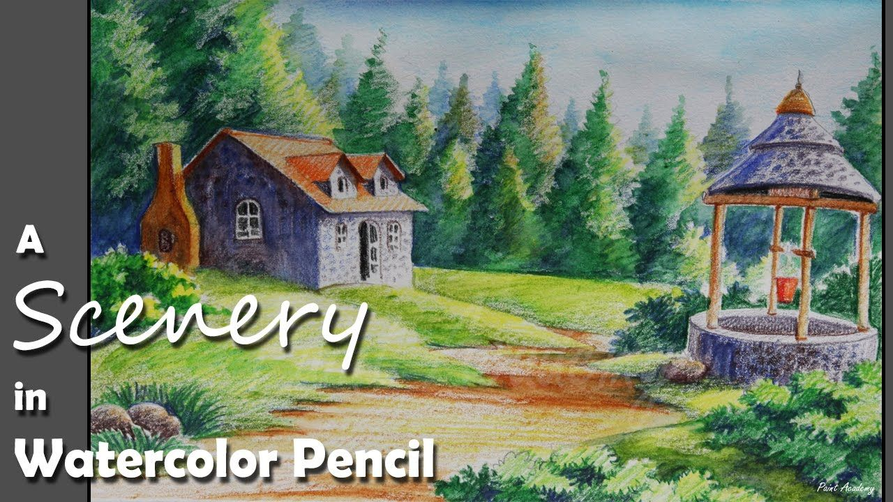 How To Paint A House Landscape In Watercolor Pencil Watercolor