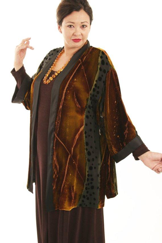 d8c97dbb295a0 Plus Size Mother of Bride Kimono Jacket Brown Black Copper Gold Silk Velvet  Burnout Sizes 14 16 18 2
