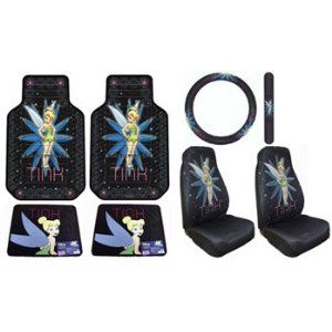 Tinkerbell Tink Pixie Power 7pc Combo Set Front Rear Floor Mats Seat Covers