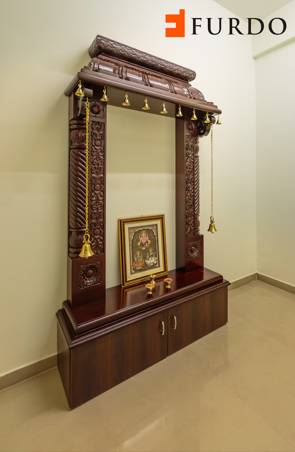 Traditional Carved Wooden Puja Mandir Hindu Home Temple With Brassbells And Cabinets By Furdo