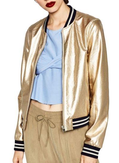 cd05f93965489 Women s Color Block Striped Metallic Bomber Jacket