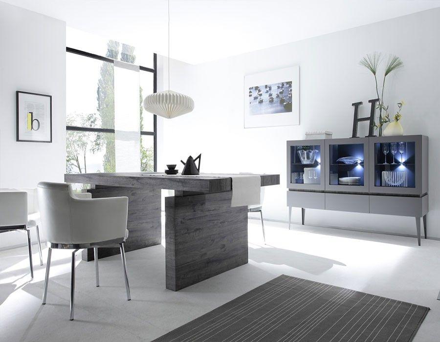 Salle à manger complète moderne laquée mat et bois BRICK 2 | Salle ...