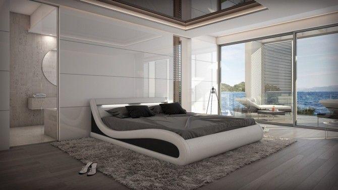 Lit design 160x200 cm blanc et noir en cuir simili - Aspen | Aspen ...