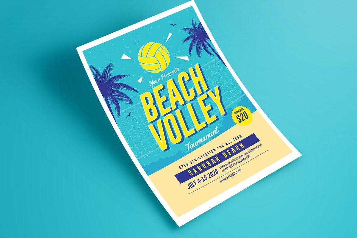 Beach Volleyball Tournament Flyer Sponsored Size Font Bleed Free In 2020 Volleyball Tournaments Beach Volleyball Tournaments
