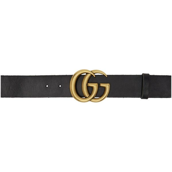 71036a4203b6 Gucci Black Leather GG Belt ( 395) ❤ liked on Polyvore featuring accessories