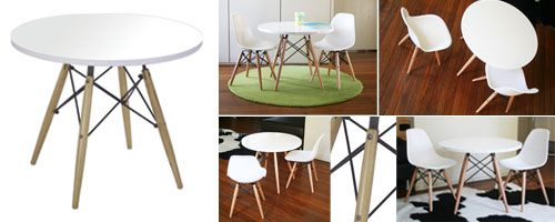 Kid sized Eames style chairs & table for the kids - just like Mummy & Daddy's :)