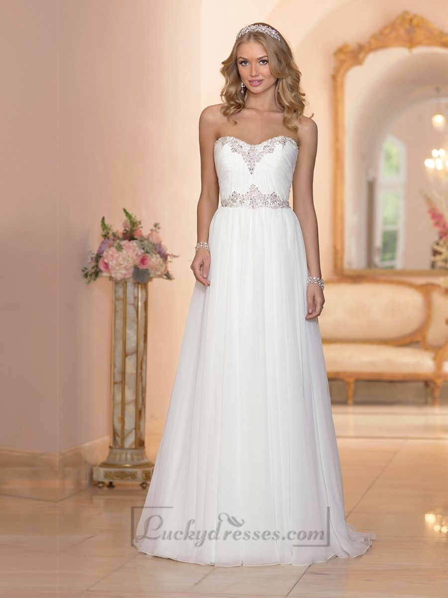 Simple wedding dresses cheap  Sheath Beaded Sweetheart Ruched Bodice Simple Wedding Dresses with