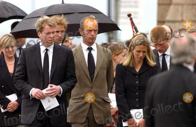 055087 06/09/2004 Earl Spencer and Wife Caroline with Princes William and Harry the Funeral of Frances Shand Kydd at Oban Argyll in Scotland Photo by Jeff Spicer/alpha/Globe Photos
