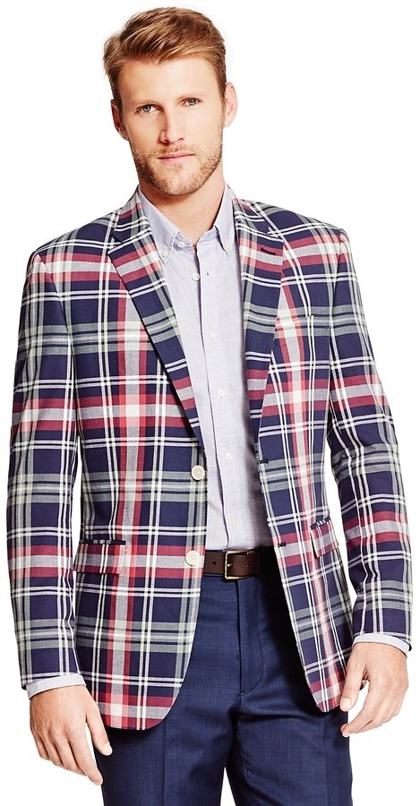 $199, Red and Navy Plaid Blazer: Tommy Hilfiger Plaid Sport Coat. Sold by Tommy Hilfiger. Click for more info: https://lookastic.com/men/shop_items/318119/redirect