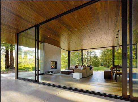 Timber Ceiling Dark Frames Concrete Floor Beach House
