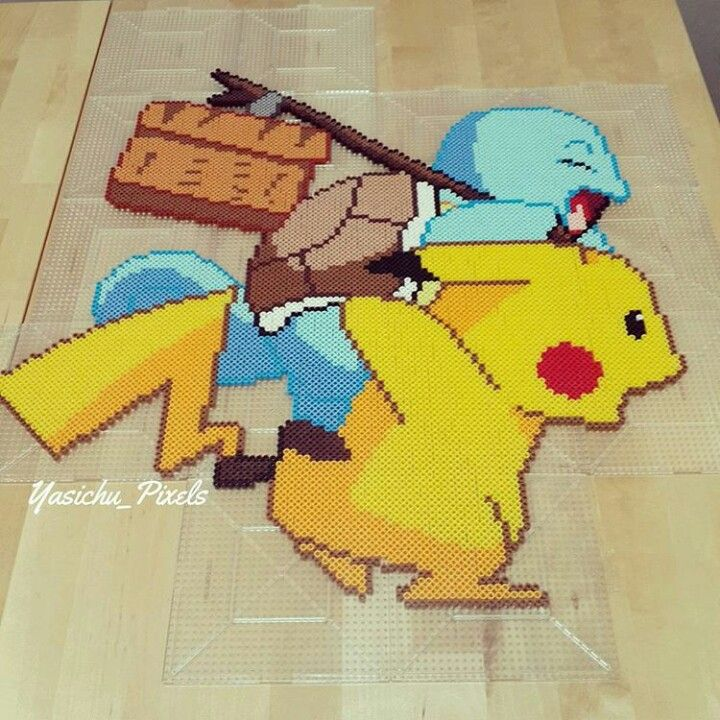 Pikachu et carapuce   Fun things   Perler beads, Beads, Hama