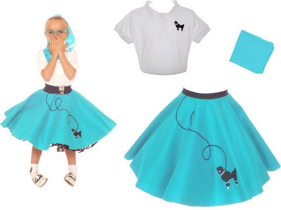 Girls 3 Pc 50s Poodle Skirt Outfit Small Child Size 4 5 6