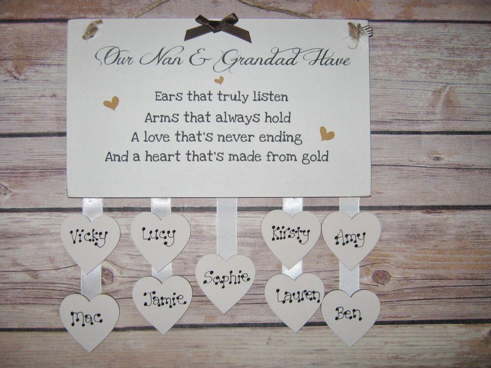 Handmade Wooden Plaque Personalised Shabby Chic Gift Grandpas Nan Gran Mum Home Furniture Diy Decor Plaques Signs Ebay