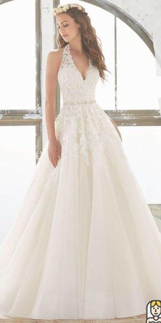 White Halter Wedding Dress V Neck Wedding Dress Bride Dress With Applique Applique Beachw Halter Wedding Dress White Lace Wedding Dress V Neck Wedding Dress